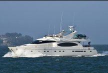 Yacht Lady / 80' Monte Fino Motor Yacht, designed for ocean cruising. Docked along the Marina Green of San Francisco, California.
