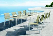 Outdoor Aluminium Furniture / Miami Stacking Armchair & Boston Rectangular Table