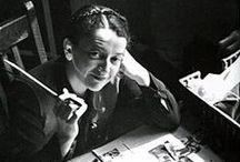 Diseñadores //  Cipe Pineles / Cipe Pineles (1908-1991) fue una de las primeras mujeres diseñadoras que trabajó como directora de arte en revistas de moda. Ella participó como directora de arte en las revistas Glamour, Seventeen y Charm.