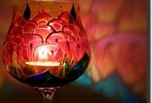 My Hand-Painted Glass / Photos of my hand-painted, fine glass candle holders. Feel free to like&pin or order your own!