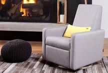 Grano Glider Recliner / A unique modern glider chair that also reclines adding both style and comfort to your nursery.