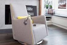 Grazia Swivel Glider / With a swiveling base this modern glider provides both superior comfort and freedom of movement. Perfect for a modern nursery but also fits beautifully in any room of your home.