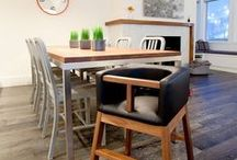 Tavo High Chair / Clean up is a breeze with our modern high chair's upholstered seat and solid wood base making it both stylish and practical.