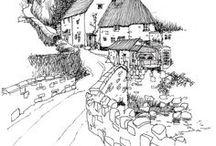 Dibujos de Pueblos y edificios