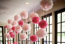 Pom Pom Decorations / Paper poms poms are great decoration for parties, weddings, showers, decorations & events. Combine with balloons and lighted paper lanterns.
