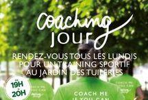 """Coaching JOUR ! / Parce-que le SPORT c'est la santé!! Nous proposons des entraînements complets tous les lundis avec un coach professionnel de 19h à 20h au jardin des Tuileries. Une barre énergétique et un jus frais vous seront offerts :)  Inscrivez-vous dès à présent dans tous les restaurants Jour ainsi que sur le site www.jour.fr rubrique """"COACHING"""""""
