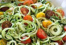 Spiralizer Inspiration / Spiralized foods - squashghetti/squash pasta, zughetti/zucchini pasta, carrotghetti/carrot pasta, beetghetti/beet pasta, etc. All sorts of vegetables that can be spiralized.
