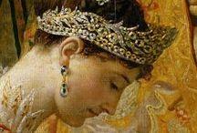 Josephine de Beauharnais / keizerin van Frankrijk, haar kinderen Eugene en Hortense  en kleindochter Josephine die door haar huwelijk met Oscar I Bernadotte koningin van Zweden werd