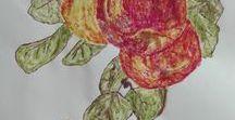 PINTURAS CON PIGMENTOS NATURALES  // PAINTS WITH NATURAL PIGMENTS / dibujos realizados utilizando los 3 pigmentos ( clorofila, xantofilas, antocianina) de los pétalos de flores y hojas que al ser aplastados tiñen el lienzo de color    drawing made with 3 pigments, chlorophyll, anthocyanin, xanthophylls