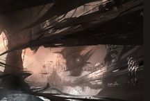 Llium Ineáh Environments / Depictions of possible environments in the dimension Ineáh, which has an overall sci-fi-fantasy aesthetic.