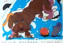 Teckel: kunst van David Hockney / David Hockney is op 9 juli in 1937 in Bradford geboren. Deze Engelse kunstenaar is een van de bekendste vertegenwoordigers van Popart.