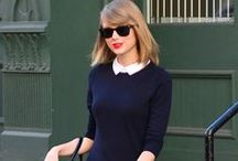 Taylor Swift Fashion + Style / Taylor Swift has such a great casual style, and she manages to mix in her country side to her fashion as well. Her signature look  is her red lipstick and feminine dresses.