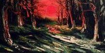 Maurice de Vlaminck (1876 - 1958) / Maurice de Vlaminck fait parti du mouvement fauvisme qui est né au Salon d'automne de Paris en 1905, avec le scandale que provoquent certaines œuvres. Les couleurs sont très vives, voire pures et utilisées en larges touches proche de l'aplat. Les valeurs sont utilisées pour exalter la lumière et les contrastes.
