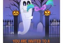 Sea Serpent Halloween Invites / Planning a Halloween party? Here are invitations, RSVP cards, return address labels, stamps with illustrations by the Sea Serpent.  The vertical stamp won a Today's Best Award. Thank you, Zazzle! =)