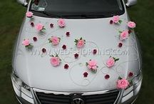 Wedding Car Decorations / Patterns of wedding car decorations from around the world. Natural flowers, artificial flowers, balloons, hearts, stickers and other inscriptions.