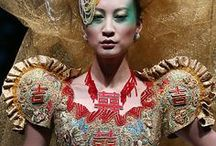 """GUO PEI / """"I love haute couture, because it is timeless.  My hope is that my work be regarded as work in a museum collection is viewed, treasured like a piece of royal jewelry, a masterpiece that will be handed down from age to age. Real haute couture is eternal, tested by time, and, many years later, will provide a kind of glance back through time. A representation of lost glories and residual splendors, it will remain as an interpretation of the joy I have had in creating."""" —Guo Pei / by Samara Rich"""