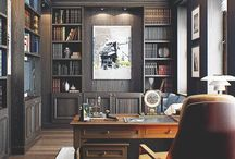 Home office, Study, Work Space Inspiration / Ideas | Design | Organisation | Decor | Storage | Space | Desk | For Two | Accessories | Small | Inspiration | Luxury | Study | For Men | Library | Chair | Shelving