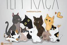 Ilustrações MM.Kittens® / Mensagens ilustradas com as personagens Morgana e Margot.