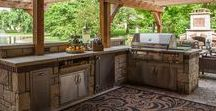 """Outdoor Kitchens / Love cooking? Love your backyard? Combine the two with an outdoor kitchen! These kitchens can be every bit as functional as your """"in home"""" kitchen but better when you combine a grill, pizza oven, or fire pit.  #kitchen #outdoors #backyard #cooking #outside"""