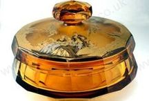 Antique & Vintage Glass in Amber / Beautiful antique and vintage glass ideas for the home in amber and related tones. The glass on this board is all sold, but to see what is currently in stock, click the links on any item to visit my website or send me an email.