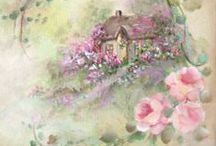 FLOWERS AND HOUSES(cards) COTTAGE
