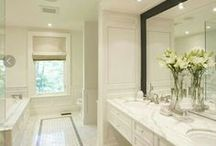 Marble Bathrooms / Stunning white marble bathrooms. Some features are designed by Capital Interiors.