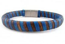 Bracelets de cuir plat, collection spirale / Bracelets de cuir pour homme