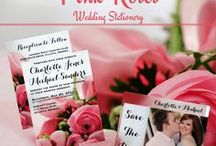Pink Roses - Wedding Stationery / Beautiful Pink Roses - Wedding Invitations and Stationery for an elegant touch. Collection includes Bridal Shower and Wedding Invitations, RSVP Cards and more.  Use the easy template to add your text. It's easy, fast & affordable.