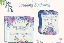 Pastel Hydrangeas - Wedding Invitations & Stationery / This Pastel Hydrangeas - Wedding Stationery is set in pretty floral shades of lilac, purple, and blue, with  touches of rose. For additional Wedding Design items to match this collection, contact the designer via email at: weddingjoy@cogeco.ca.