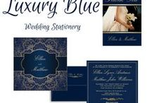 Luxury Blue - Wedding Stationery / This Luxury Blue - Wedding Stationery set is created in luxurious blue tone with gold design elements.For additional Wedding Design items to match this collection, contact the designer via email at: weddingjoy@cogeco.ca.