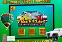Kids & Play Cars, Trucks, Emergency & Construction Vehicles Puzzles / A puzzle game with images of vehicles including fire truck, police car, excavator, bulldozer, boat, plane and many more. Avaliable for iPhone and iPad.