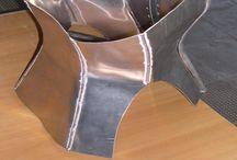 Metallic corset / Corsetto in alluminio / realized in aluminum,  Realizzato nel 2006 ipirazione moto Griso Motoguzzi