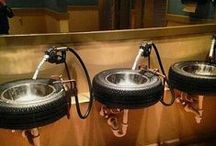 Commercial - Car Restroom Inspiration / Repurposed car parts, auto bathroom decor