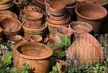 Terracotta pots and  rustic urns