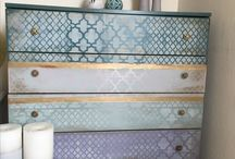 Drawer  makeover / Refurnished with AnnieSloan chalk paint. Mix of Florence and Burgundy. Paris gray, Antoinette , Paloma, Duck egg blue  and stencil. Clear and dark wax on top