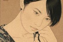 Artist: Yasunari Ikenaga / Indian ink and linen canvas. Ikenaga Yasunari captures a simple serenity in the the faces of his female portraits.  Yasunari's Japanese heritage has inspired a style of painting which is characteristic in his work. This ancient technique of Nihonga is a traditional Japanese artform using a Menso brush and ink.