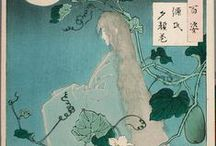 """Ukiyo-e * The Ghost Stories / Ukiyo-e - 浮世絵 – """"pictures of the floating world"""", is a genre of woodblock prints and paintings that flourished in Japan from the 17th through 19th centuries. It was aimed at the prosperous merchant class in the urbanizing Edo period (1603–1867). Amongst the popular themes were depictions of beautiful women; kabuki actors and sumo wrestlers; scenes from history and folk tales; travel scenes and landscapes; flora and fauna; and erotica."""