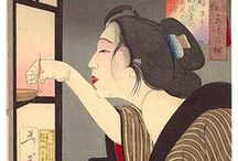 """Ukiyo-e  *  The Beauties  (Bejin / Bijin) / Ukiyo-e - 浮世絵 – """"pictures of the floating world"""", is a genre of woodblock prints and paintings that flourished in Japan from the 17th through 19th centuries. It was aimed at the prosperous merchant class in the urbanizing Edo period (1603–1867). Amongst the popular themes were depictions of beautiful women; kabuki actors and sumo wrestlers; scenes from history and folk tales; travel scenes and landscapes; flora and fauna; and erotica."""