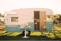 Vintage Trailer Vibe / Oh, what I wouldn't give for a vintage trailer, refurbished in feedsack fabric ... and a long road.