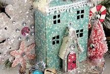 Glitter Putz Houses / Little glittered houses known as Putz houses.  Both new and vintage.  Lovely for Christmas!