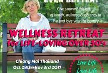 Wellness Retreats / LIVE LIFE - LOVE LIFE - LONG LIFE  RETREAT Baby Boomers- inspiring journeys to enlighten inspire and introduce natural wellness practices to keep you vibrant and healthy. In retreats I share experience and knowledge from many years as a Natural Health Practitioner & Life Coach.  You get amazing travel & gain tools to upscale your wellness to feel younger and healthy in your senior years. Gain knowledge & direction to shift your lifestyle to support a vibrant retirement. Redesign your life¸¸.❧