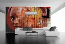 MURALS / printed paper over woodplanks, different sizes, big formats