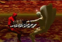 Chess Art Gallery I / chess, art, abstract, cubist, surreal, painting, woman, player, game, playing chess,