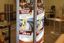 Trade Show Tower Displays / Formulate Tension Fabric Towers.  Ideal for elevating your brand, literally!  Don't want to hassle making arrangements to string up your hanging sign?  Consider a trade show tower instead.  No hassle set up and big, beautiful graphics!