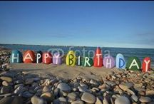 HAPPY BIRTHDAY IN DIFFERENT LANGUAGES ON STONES / Colored stones composition about happy birthday in different languages - request the picture of your name on stones yournameonstones@gmail.com