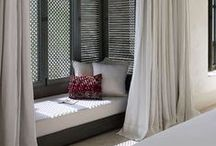 French Moroccan Style / Nap caves, drappery, tiles, lights & deep rich colours
