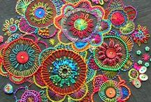 Colourful Embroidery / I love embroidery!!  It can be used to embellish anything, with anything.  And of course my choice would be to use embroidery thread, ribbons, glass beads, and sequins in many bright colours!!  Such a variety of stitches, too.