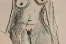 Life-classes nude artwork / #Female #nudes, largely from #life-drawing classes, and other art of mine