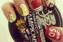 Hockey Nails / Hockey inspired manicures