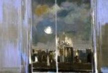 """Bernard Piga, French painter / Paintings by a French artist Bernard Piga (1934-2008), whose painting """"New York, la nuit"""" we used for the cover of CENTRAL PARK WEST TRILOGY by Richard Kalich (courtesy of Martine Meyer-Piga)"""